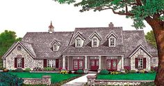 Elevation of Southern   House Plan 66214