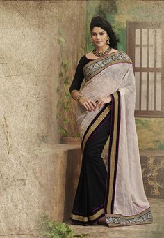 Black Net Saree with heavy border