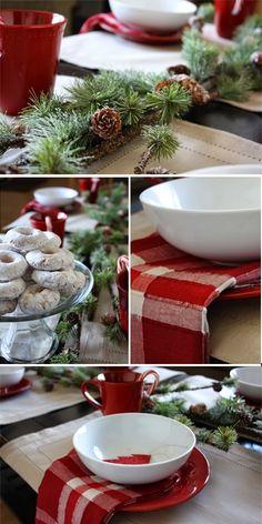 {Nosh} Create a cozy Christmas breakfast table for Christmas morning. Merry Little Christmas, Noel Christmas, Christmas Morning, Country Christmas, Winter Christmas, Nordic Christmas, Modern Christmas, Christmas Table Settings, Christmas Tablescapes
