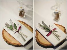 Wooden Log Place settings