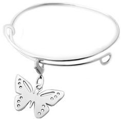 Sterling silver butterfly expandable charm bracelet (260 AUD) ❤ liked on Polyvore featuring jewelry, bracelets, charm bangles, sterling silver jewelry, charm bracelet, sterling silver bracelet charms and charm bracelet bangle