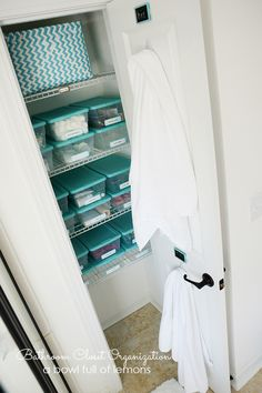 Loving these fresh ideas on keeping the bathroom closet organized from A Bowl Full of Lemons