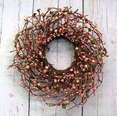 Mini Wedding Wreath  Pantry Door Wreath  Salmon by Designawreath