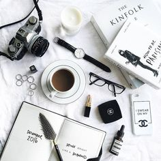 """Flatlay-ing with some of my fav Pieces Wish You a Great Evening made with my fav @olympus_pengeneration p.s. With the Code """"Viktoria"""" You Can get 15% off on your purchase at @danielwellington till the end of April"""
