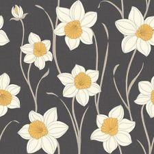 Fine Decor Daffodil Wallpaper Charcoal Black / White / Yellow