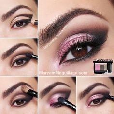 Simple But Dramatic Smokey Eye MakeUp Tutorial - Modish Make Up - Pink Eye Makeup Looks, Beautiful Eye Makeup, Eyeshadow Looks, Pretty Makeup, Love Makeup, Hair Makeup, Pink Eyeshadow, Beauty Makeup, Pink Makeup