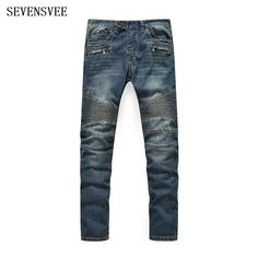 49.32$  Buy here - http://aliek1.shopchina.info/go.php?t=32769707479 - Top Quality Plus Size 28-40 Mens Biker Jeans Male Fashion Slim Fit Vintage Washed Blue Jeans For Men Motorcycle Denim Pants 49.32$ #shopstyle