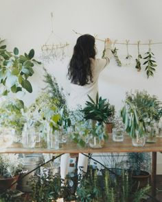 table covered in glass bottles of plants + hanging green plant wall decor