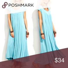 """BLUE Flowy Long Maxi DRESS NEW BLUE Flowy MAXI DRESS: A generous scoop neck and beautiful, flowy fit--gorgeous worn alone, and also makes a great layering piece.   🌟🌟Item is Brand New, direct from the Manufacturer, & Sealed in Pkg. 🌟🌟  Available in Sizes: Sm, Med, Lg S: Bust: 41"""" / Length: 47"""" M: Bust: 42.5"""" /  Length: 48"""" L: Bust: 44"""" / Length: 49"""" austin gal Dresses Maxi"""