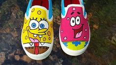 Spongebob and Patrick Hand Painted Canvas Shoes  Fan by fcwhimsey