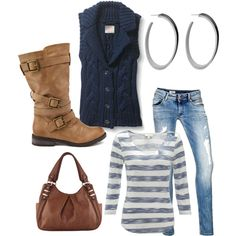 Jeans, striped blue white shirt, navy sweater vest with brown accents. Love this
