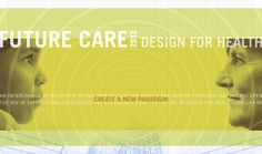 Future Care Symposium.  Great focal point by using the circles to draw our eye to the middle of the page.  We go first the header and then to the middle text.  The strong photos on the sides create a great compliment to the image.  Nice Repitition of color and lines.  Lovely colors.