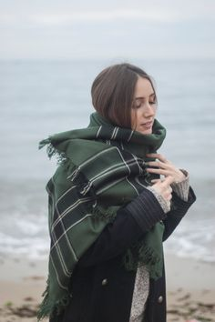 Green Blanket Scarf Plaid Scarf Fashion Accessory Women by Urbe