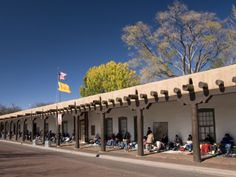Pueblo Indians Selling their Wares at the Palace of Governors, Built in 1610, Santa Fe, New Mexico, Photographic Print by Richard Maschmeyer at Art.com