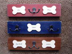 Cute, I love the double hook look.  ----------- personalized pet gift, leash hooks, dog bone hook board, hanger, pups' names double hook