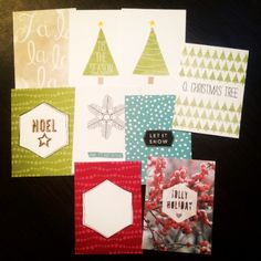 Cards created with the Hello December Project Life by Stampin' Up kit.  Closeup detail shots of each card in the post.