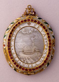 Pendant of the Spanish Armada1580-1600 Gold, mother-of-pearl, rubies, enamels, 60 x 22 mmMilan, Poldi Pezzoli Museum