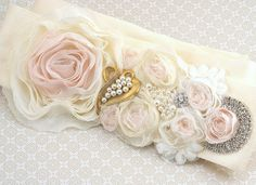 Bridal Sash Wedding Sash in Ivory and Blush Pink with Chiffon, Pearls and Crystals- Juliette Loves Vintage... in terms of color, this may be the best one