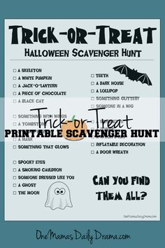 Free printable Halloween trick-or-treat scavenger hunt for kids   One Mama's Daily Drama --- What a fun Oct 31 activity for little kids who don't want to do anything too scary or spooky!