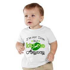 NanyCrafts Childrens Im NOT Irish but KISS me anyway St Paddys kids Shirt 3Y White <3 Detailed information can be found by clicking on the image