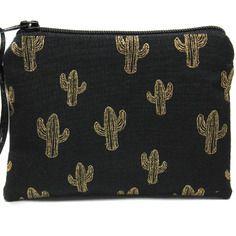 Porte monnaie cactus en tissu noir et doré, mini pochette zippée, petit étui à barrettes