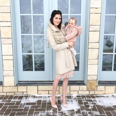 Rach Parcell (Pink Peonies): Today's church look! Isla Rose had her eyes glued on Dasher who was running crazy through the snow while we took these (and yes our Christmas tree is still up ). ❄️ #sundaybest #ootd