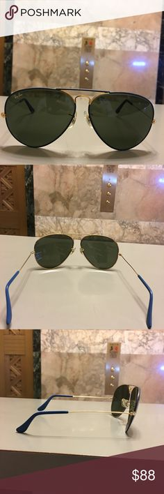 "Ray Ban H&L Aviator (unisex) 100% Authentic high fashion luxury glamorous sophisticated stunning Ray Ban Aviator blue& gold in very good condition just has tiny little scratches but  nothing major just like shown in the last two pictures cannot even notice the tiny little scratch when wearing the sunglasses""comes with its original protection case will ship immediately ..unisex man or woman Ray-Ban Accessories Sunglasses"