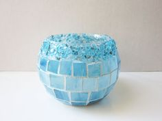 Crystal Pop Bluestained glass mosaic candle by LittlepiecesByLisa, $16.00