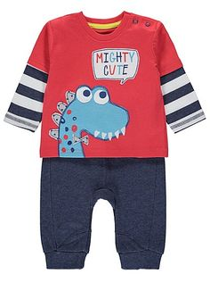 Mighty Cute Dino Top and Joggers Set , read reviews and buy online at George at ASDA. Shop from our latest range in Baby. If they love dinosaurs, this comfor...