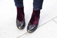 Velvet cowboy ankleboots
