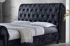 CHESTERFIELD CASTELLO Classy Modern Bed Frame Sleigh Style Fully Upholstered Designer bed in Crushed Velvet or Chenille Fabric (5FT KINGSIZE, Crushed Velvet-Black): Amazon.co.uk: Kitchen & Home