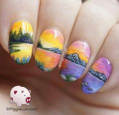 This is nail ART, amazing freehand nail art... mountains, water & trees