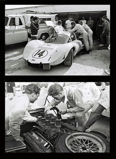 Phill Hill and Jim Hall work on their Chaparral 2D at Daytona in 1967. The car failed to finish due to gearbox problems. Bruce Jennings was also listed as a co-driver.