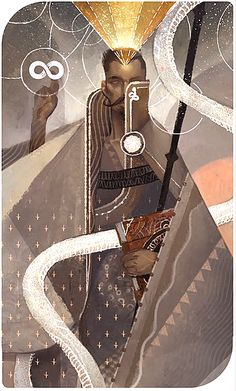 """The Hierophant (Dorian) ______ Tarot Cards from """"Dragon Age : Inquisition"""" showing the main characters. Created by the game concept team : Matt Rhodes, Nick Thornborrow, Casper Konefal and Ramil Sunga."""