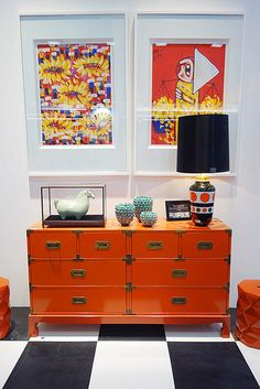 Love this Asian chest, the colour, the shape. Wonder if I can convert an Ikea piece to be similar...J Orange objets display