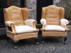 Pair of 19th Century Wing Back Chairs.  Height: 113cm Width: 88cm Depth of seat: 55cm  SOLD