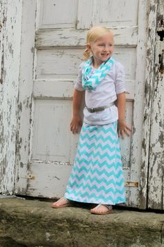 toddler girl maxi skirt in chevron jersey knit by SheriKateDesigns, $23.00