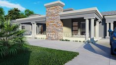 4 Bedroom House Plan - My Building Plans South Africa Tuscan House Plans, My House Plans, Bungalow House Plans, Family House Plans, House Roof Design, Flat Roof House, Modern House Design, My Building, Building Plans