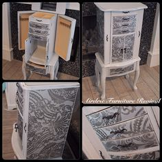 Don't like the pattern at all. Jewellery Armoire done in seagull grey Gray Painted Furniture, Dresser Furniture, Furniture Makeover, Painted Dressers, Painting Furniture, Computer Armoire, Second Hand Furniture, Musical Jewelry Box, Diy Furniture Projects