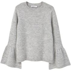 Flared Sleeves Sweater (€23) ❤ liked on Polyvore featuring tops, sweaters, shirts, jumpers, pull, long sleeve jumper, long sleeve shirts, long sleeve knit tops, cable knit jumper and long-sleeve shirt