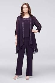 Chiffon Plus Size Pantsuit with High-Low Jacket Style Mob Dresses, Necklines For Dresses, Plus Size Dresses, Dresses With Sleeves, Peplum Dresses, Fall Dresses, Formal Dresses, Dress Tops, Ivory Dresses