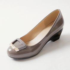2016 mujeres de moda zapatos cuñas de talón del dedo del pie redondos oficina zapatos de mujer de tacón mediano ladies zapatos d.