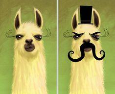 llama and evil llama by chunkysmurf.deviantart.com on @deviantART