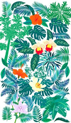Set of tropical leaves by tukkki on creative market art ✰ в Modern Tropical, Tropical Art, Tropical Design, Tropical Leaves, Tropical Garden, Papaya Tree, Cactus, Green Banana, Wallpaper Backgrounds