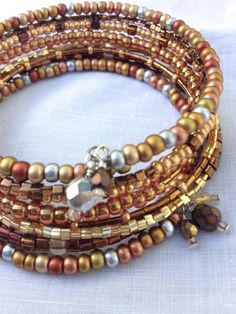 Layered Beaded Wrap Memory Wire Bangle