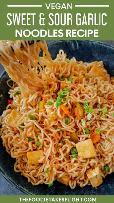 3 easy vegan noodle recipes you can make in 15 minutes or less! Budget and pantry-friendly too! Peanut and Sesame Noodles, Yaki Udon, Sweet and Sour Garlic Noodles Vegan Noodles Recipes, Healthy Noodle Recipes, Garlic Noodles Recipe, Chinese Noodle Recipes, Yummy Noodles, Veggie Noodles, Ramen Recipes, Delicious Vegan Recipes, Asian Recipes
