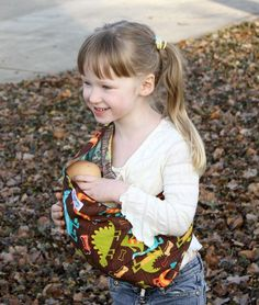 Doll Sling Toy Pouch Sling Baby Doll Carrier  Dino by SnuggyBaby, $13.00