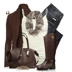 """Chocolate Brown & Cream"" by bitbyacullen on Polyvore"