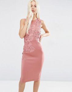 Flower scuba midi pencil dress by Asos. Pencil dress by ASOS Collection, Scuba-style fabric, High neckline, Lace detailing, Zip back closure, Kick split, Sli...