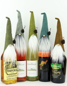 FIVE Wine Toppers, Wine Gifts, Wine Party Gift, Gnome Toppers, Nisse, Swedish Gnomes, Nordic Gnome Wine Bottles, Liquor Gifts, Party Gifts by TheGnomeMakers on Etsy https://www.etsy.com/listing/547842901/five-wine-toppers-wine-gifts-wine-party